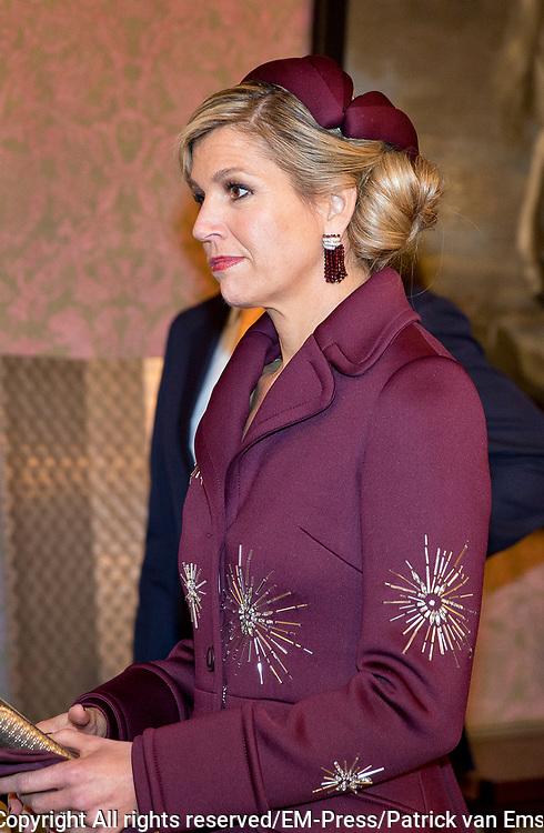 Regeringslunch in de Treveszaal / Government Lunch in Treveszaal<br /> <br /> op de foto / On the photo:  Koningin Maxima / Queen Maxima
