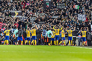 Juventus celebrate their win during the Champions League match between Tottenham Hotspur and Juventus FC at Wembley Stadium, London, England on 7 March 2018. Picture by Toyin Oshodi.
