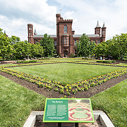 The Parterre landscaped garden in the Enid A. Haupt Garden in the grounds of the Smithsonian Castle in Washington DC.
