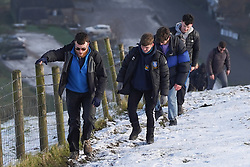 © Licensed to London News Pictures. 09/01/2021.Μam Tor, UK.Hikers do their exercise on Mam Tor in the Peak District in Derbyshire during the first weekend of the third national lockdown. Photo credit: Ioannis Alexopoulos/LNP