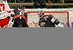 13.11.2018, Messestadion, Dornbirn, AUT, EBEL, Dornbirn Bulldogs vs HCB Suedtirol Alperia, 21. Runde, im Bild v. l. Jerome Leduc Gauthier (Dornbirn Bulldogs), Timothy Campbell (HCB Suedtirol Alperia) und Juha Rasmus Rinne (Dornbirn Bulldogs) // during the Erste Bank Eishockey League 21th round match between Dornbirn Bulldogs and HCB Suedtirol Alperia at the Messestadion in Dornbirn, Austria on 2018/11/13. EXPA Pictures © 2018, PhotoCredit: EXPA/ Peter Rinderer