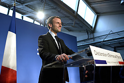 Former Economy Minister Emmanuel Macron delivers his statement to officially declare candidacy for the 2017 presidential elections, during a visit to Campus des Metiers et de l'Entreprise, a professional training center in Bobigny, near Paris, France on November 16, 2016. Photo by Eliot Blondet/ABACAPRESS.COM