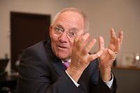 17 DEC 2014, BERLIN/GERMANY:<br /> Wolfgang Schaeuble, CDU, Bundesfinanzminister, waehrend einem Interview, in seinem Buero, Bundesministerium der Finanzen<br /> IMAGE: 20141217-01-016<br /> KEYWORDS: Wolfgang Schäuble