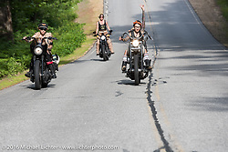 Leticia Cline (L), Kissa Von Addams (R) and Dana Cooley (back) of the Iron Lilies out riding during Laconia Motorcycle Week 2016. NH, USA. Sunday, June 19, 2016.  Photography ©2016 Michael Lichter.