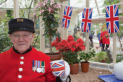 © Licensed to London News Pictures. 21/05/2012. London, England. Chelsea Pensioner Tom visits a greenhouse. RHS Celsea Flower Show 2012 - Press Day. Photo credit: Bettina Strenske/LNP