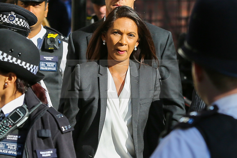 © Licensed to London News Pictures. 19/09/2019. London, UK. Businesswoman and political activist GINA MILLER arrives at UK Supreme Court in London on the final day of the three day appeal hearing in the multiple legal challenges against the Prime Minister Boris Johnson's decision to prorogue Parliament ahead of a Queen's speech on 14 October. Since Tuesday 17 September, eleven instead of the usual nine Supreme Court justices have been hearing the politically charged claim that Boris Johnson acted unlawfully in advising the Queen to suspend parliament for five weeks in order to stifle debate over the Brexit crisis. It is the first time the Supreme Court has been summoned for an emergency hearing outside legal term time. Lady Hale, the first female president of the court who retires next January, has been preside the Brexit-related judicial review cases. Photo credit: Dinendra Haria/LNP