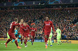 BRITAIN-LIVERPOOL-FOOTBALL-UEFA CHAMPIONS LEAGUE-LIVERPOOL VS FC BARCELONA..(190507) -- LIVERPOOL, May 7, 2019  Liverpool's Divock Origi (R, Front) celebrates after scoring during the UEFA Champions League Semi-Final second Leg match between Liverpool FC and FC Barcelona at Anfield in Liverpool, Britain on May 7, 2019. Liverpool won 4-3 on aggregate and reached the final. FOR EDITORIAL USE ONLY. NOT FOR SALE FOR MARKETING OR ADVERTISING CAMPAIGNS. NO USE WITH UNAUTHORIZED AUDIO, VIDEO, DATA, FIXTURE LISTS, CLUBLEAGUE LOGOS OR ''LIVE'' SERVICES. ONLINE IN-MATCH USE LIMITED TO 45 IMAGES, NO VIDEO EMULATION. NO USE IN BETTING, GAMES OR SINGLE CLUBLEAGUEPLAYER PUBLICATIONS. (Credit Image: © Xinhua via ZUMA Wire)