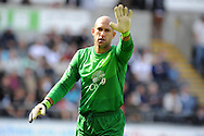 Everton keeper Tim Howard reacts.   Barclays Premier league, Swansea city v Everton at the Liberty stadium in Swansea, South Wales on Sat 22nd Sept 2012.   pic by  Andrew Orchard, Andrew Orchard sports photography,