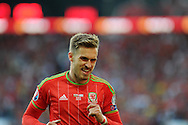 Aaron Ramsey of Wales looks on. Euro 2016 qualifying match, Wales v Israel at the Cardiff city stadium in Cardiff, South Wales on Sunday 6th Sept 2015.  pic by Andrew Orchard, Andrew Orchard sports photography.