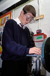 Woodwork class at secondary school, UK