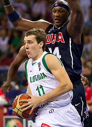 Goran Dragic of Slovenia vs Lamar Odom of USA during to the Preliminary Round - Group B basketball match between National teams of USA and Slovenia at 2010 FIBA World Championships on August 29, 2010 at Abdi Ipekci Arena in Istanbul, Turkey.  (Photo by Vid Ponikvar / Sportida)