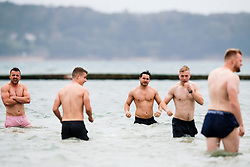 Tom Tainton looks on as Bristol Rugby take part in a morning after game recovery session in the sea - Rogan/JMP - 29/10/2017 - RUGBY UNION - Jersey Marine Lake - St Helier, Jersey - Jersey Reds v Bristol Rugby - Greene King IPA Championship.