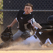 A run scores as the catcher fails to hold a throw to home plate during the Norwalk Little League baseball competition at Broad River Fields,  Norwalk, Connecticut. USA. Photo Tim Clayton