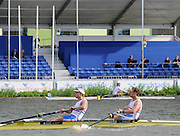 Amsterdam, NETHERLANDS,  GBR BM2- winners Semi-final race, Bow George NASH and Constantine LOULOUDIS.  2011 FISA U23 World Rowing Championships, Saturday, 23/07/2011 [Mandatory credit:  Peter Spurrier/Intersport Images]. , Bosbaan is a rowing lake, course, Amsterdamse Bos Amsterdam Forest, Amstelveen, Netherlands., Amstelveen,