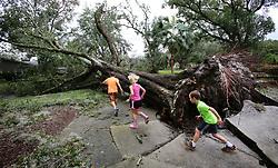Kids play among fallen oak trees in the Dommerich Estates neighborhood in Maitland FL, USA on Monday, September 11, 2017 after Hurricane Irma passed through central Florida on Sunday night. Photo by Joe Burbank/Orlando Sentinel/TNS/ABACAPRESS.COM