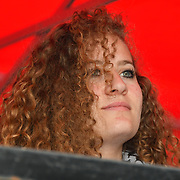 Speaker Ahed Tamimi is a Palestinian continues rally outside Downing street of the Nakba: National Demonstration for Palestine commemorating 71 years since the Nakba (catastrophe). On 15th May 1948 over 750,000 Palestinians were expelled from their land during the establishment of the state of Israel ahead of the Nakba (catastrophe). on this day 15th May 1948 march through central on 11 May 2019, London, UK.