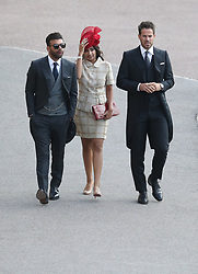 Jamie Redknapp (right) arrives for the wedding of Princess Eugenie to Jack Brooksbank at St George's Chapel in Windsor Castle.