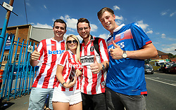 Stoke City fans outside the stadium prior to the Sky Bet Championship match at Elland Road, Leeds.