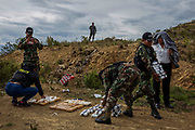 Cochabamba, Bolivia. 06/01/2020. Anti-Drug Police of Bolivia (FELCN) prepare a burning of seized drugs, mainly cocaine, in a remote area in the mountains around Cochabamba. ( Photo: Lalo de Almeida/ Folhapress )
