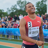Andre De Grasse all smiles after his 100m win at the 2016 Rio Olympic Trials