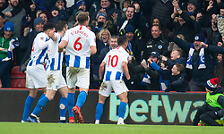 Brighton & Hove Albion's Florin Andone (right) celebrates scoring his side's third goal of the game
