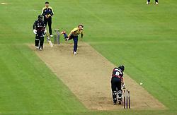 Gareth Berg of Hampshire bowls Johann Myburgh of Somerset - Mandatory by-line: Robbie Stephenson/JMP - 19/06/2016 - CRICKET - Cooper Associates County Ground - Taugnton, United Kingdom - Somerset v Hampshire - NatWest T20 Blast