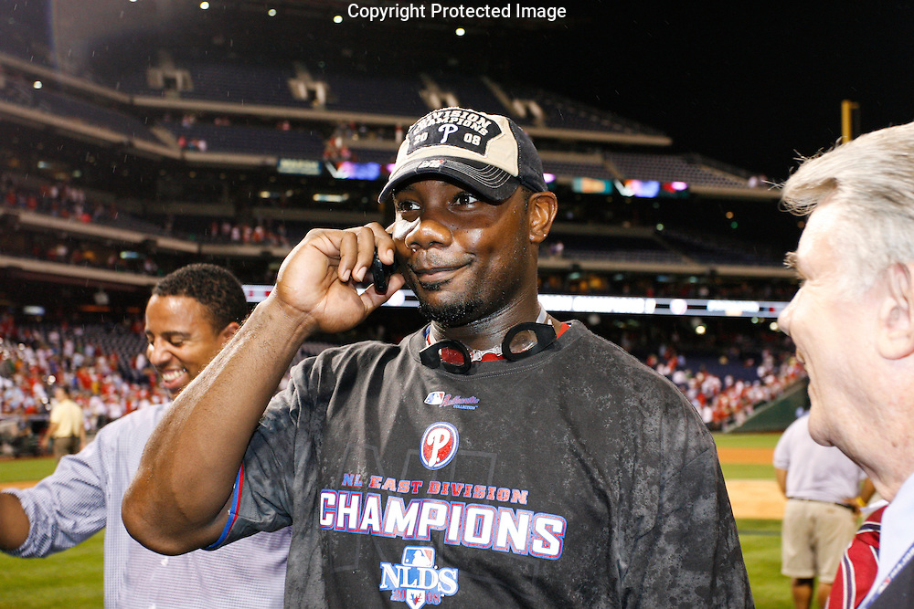 27 Sept 2008: Philadelphia Phillies first baseman Ryan Howard #6 makes a phone call after the game against the Washington Nationals on September 27th, 2008. The Phillies won 4-3 to clinch the National League Eastern Division title at Citizens Bank Park in Philadelphia, Pennsylvania