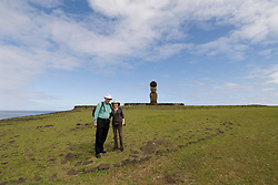 Chile, Easter Island:  Travel journalists Lee Foster and Ann Purcell at Ahu Tahai..Photo #: ch358-33616.Photo copyright Lee Foster www.fostertravel.com lee@fostertravel.com 510-549-2202