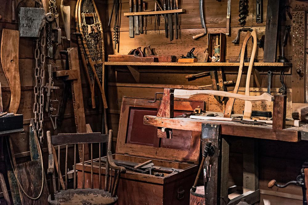 Billings Farm Museum workshop recreation, Woodstock, Vermont, USA