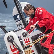 Leg 02, Lisbon to Cape Town, day 07, on board MAPFRE, Juan Vila trimando la vela mayor. Photo by Ugo Fonolla/Volvo Ocean Race. 11 November, 2017