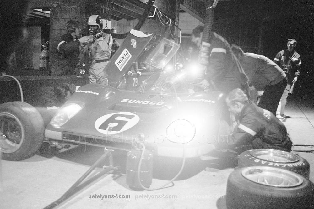 Sebring 12-Hour race 1971, Penske Ferrari pit stop action; Photo by Pete Lyons 1971/ © 2014 Pete Lyons / petelyons.com