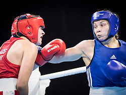 Australia's Caitlin Parker (red) v Wales' Lauren Price (blue) during the Women's Middle (69-75kg) final at Oxenford Studios during day ten of the 2018 Commonwealth Games in the Gold Coast, Australia.