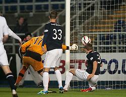 Falkirk's Stephen Kingsley scoring their third goal past Raith Rovers keeper Ross Laidlaw.<br /> Falkirk 3 v 1 Raith Rovers, Scottish Championship game at The Falkirk Stadium.