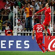 Turkey's Umut Bulut (R) with Sercan SARARER celebrates his goal during their FIFA World Cup 2014 qualifying soccer match Turkey betwen Estonia at Sukru Saracoglu stadium in Istanbul September 11, 2012. Photo by TURKPIX