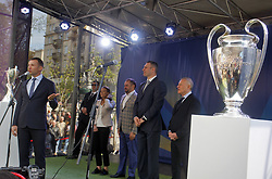 April 21, 2018 - Kiev, Ukraine - ANDRIY SHEVCHENKO, Ukrainian former soccer player and ambassador for the UEFA Champions League final in Kiev (L) speaks during a handover ceremony in downtown Kiev, Ukraine, on 21 April 2018. Kiev will host the UEFA Champions League Final matches on 24 and 26 May 2018. (Credit Image: © Serg Glovny via ZUMA Wire)