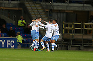 Daniel Pudil of Sheffield Wednesday (l no36) celebrates with  his teammates after he scores his teams 1st goal to equalise at 1-1.   EFL Skybet championship match, Cardiff city v Sheffield Wednesday at the Cardiff city stadium in Cardiff, South Wales on Wednesday 19th October 2016.<br /> pic by Andrew Orchard, Andrew Orchard sports photography.