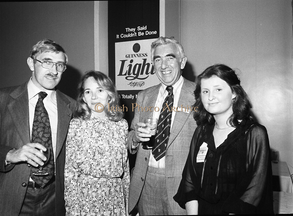 """Guinness Launch """"Guinness Light"""".  (M79)..1979..26.06.1979..06.26.1979..26th June 1979..At the Guinness Theatre in St James Gate Brewery,Guinness launched """"Guinness Light"""". With a spectacular show Guinness brought to the market a new lighter version of its world famous stout. it is hoped that it will fill a niche with younger drinkers frequenting Ireland's pubs and clubs..Pictured at the Guinness 'Light' launch were Frank Fell, L V A, Niamh landy, Sec, Guild of Sommeliers, Noel O'Carroll, G G S and Philomena McCabe,G G S."""