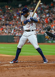 April 30, 2018 - Houston, TX, U.S. - HOUSTON, TX - APRIL 30:  Houston Astros second baseman Marwin Gonzalez (9) winces as a ball gets too close during the baseball game between the New York Yankees and Houston Astros on April 30, 2018 at Minute Maid Park in Houston, Texas.  (Photo by Leslie Plaza Johnson/Icon Sportswire) (Credit Image: © Leslie Plaza Johnson/Icon SMI via ZUMA Press)