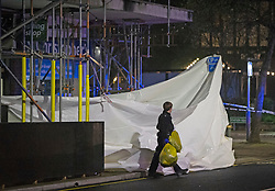 © Licensed to London News Pictures 07/01/2021.         Petts Wood, UK. A white tarpaulin at the scene. Police at the scene of an incident in Petts Wood, South East London tonight. According to local reports a scaffolder has sadly died after falling from height while working above some shops near Petts Wood train station. Photo credit:Grant Falvey/LNP