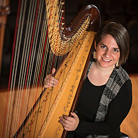 Christina Brier, principal harpist for Wilmington Symphony Orchestra. Photographed at Beckwith Recital Hall on the campus of UNCW.<br /> <br /> Photo by Michael Cline Photography