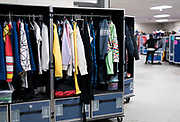 """Racks for costumes and props are seen backstage for """"Cirque du Soleil: CRYSTAL"""" at the Alliant Energy Center in Madison, WI on Wednesday, May 1, 2019."""