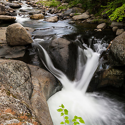 A waterfall on White Brook as it tumbles towards the West Branch of the Pleasant River in Piiscataquis County, Maine. Near Greenville.