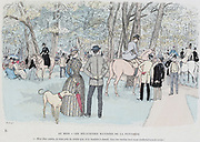 In the Bois de Boulogne, Paris. Cartoon from  'Paris Brillant' c1890 by 'Mars'.