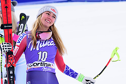 January 19, 2018 - Cortina D'Ampezzo, Dolimites, Italy - Mikaela Shiffrin of United States of America celebrating her third place at the Cortina d'Ampezzo FIS World Cup in Cortina d'Ampezzo, Italy on January 19, 2018. (Credit Image: © Rok Rakun/Pacific Press via ZUMA Wire)