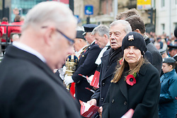 Former Cricket Umpire Dickie Bird and Barnsleys queen of Fashion Rita Britain take part in the Remembrance Sunday service in Barnsley South Yorkshire <br /> <br />  08 October 2015<br />  Copyright Paul David Drabble<br />  www.pauldaviddrabble.co.uk