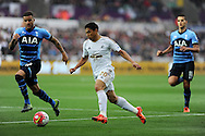 Jefferson Montero of Swansea city makes a break. Barclays premier league match, Swansea city v Tottenham Hotspur at the Liberty Stadium in Swansea, South Wales on Sunday 4th October 2015.<br /> pic by  Andrew Orchard, Andrew Orchard sports photography.