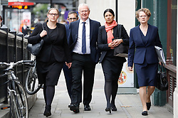 © Licensed to London News Pictures. 24/04/2017. London, UK. L to R Solicitors ANNA CROWTHER, RUSSELL LEVY (rear),  MARTYN DAY, SAPNA MALIK and FRANCES SWAINE arrive at the Solicitors Disciplinary Tribunal in central London where they face disciplinary proceedings following claims by the Ministry of Defence that Leigh Day solicitors took part in ambulance-chasing over false compensation claims for the torture of Iraqi citizens. Photo credit: Peter Macdiarmid/LNP