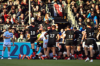 Rugby Union - 2019 / 2020 European Rugby Heineken Champions Cup - Pool Four: Saracens vs. Racing 92<br /> <br /> Saracens' Owen Farrell celebrates but Referee Nigel Owens does not award the try as Duncan Taylor's grounding can't be confirmed, at Allianz Park.<br /> <br /> COLORSPORT/ASHLEY WESTERN