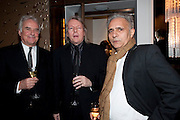 SIR RICHARD EYRE; CHRISTOPHER HAMPTON;  HANIF KUREISHI; , Ella Krasner and Pablo Ganguli host a Liberatum dinner in honour of Sir V.S.Naipaul. The Landau at the Langham. London. 23 November 2010. -DO NOT ARCHIVE-© Copyright Photograph by Dafydd Jones. 248 Clapham Rd. London SW9 0PZ. Tel 0207 820 0771. www.dafjones.com.