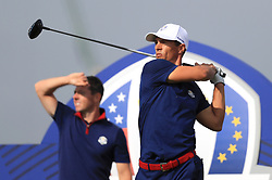 Team Europe's Thorbjorn Olesen on the thirteenth tee during the Fourballs match on day one of the Ryder Cup at Le Golf National, Saint-Quentin-en-Yvelines, Paris.